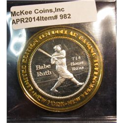982.       1997 New York New York Casino (Las Vegas, NV) limited edition $10 token – Babe Ruth 714 H