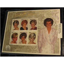 997.       Limited edition plate block of Princess Diana stamps, issued by Guyana, with COA