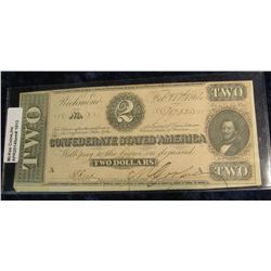 1013.   Confederate States of America 1864 $2 banknote, bright note, excellent state of preservation