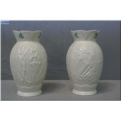 "A pair of Belleek pottery ""Durham vases"" 8"" in height"