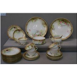 Antique Noritake rose motif tea service pieces with hand enamelling and gilt detailing including cre