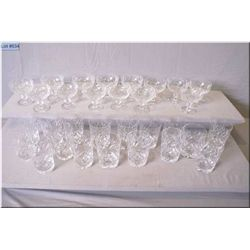 Large selection of signed Webb and Corbett crystal glassware including seven tall wine glasses, eigh