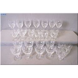 Selection of signed Webb and Corbett crystal including seventeen tumblers and fourteen champagne/par