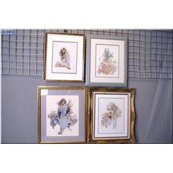 Four framed needlework pictures