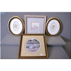 Three framed needle works and an artist proof limited edition Joan Healey  The Offering