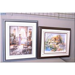 Pair of large framed paper tole 3D pictures