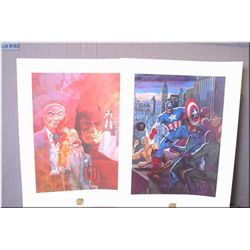Two unframed limited edition prints including Captain America by artist Tom Palmer and Daredevil Mon