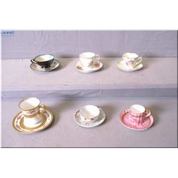 Six demitasse cups and saucers including Limoges, Austrian, RS Prussia etc.