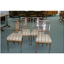 Set of four Edwardian side chairs with beautifully inlaid backs