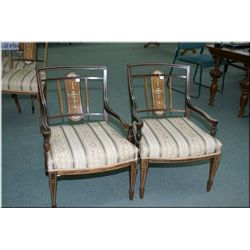 Pair of Edwardian slipper chairs with beautifully inlaid backs and arms