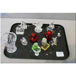 Selection of glass and crystal miniature animal figures including rabbits, birds, gramophone, small