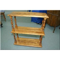 Modern three tier oak what-not table