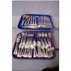 A selection of sterling flatware including thirteen dinner forks, thirteen dinner knives, twelve des