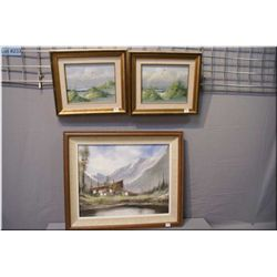 "Three framed acrylics including a mountain scene 16"" X 20"" signed Villami (?) and two seascape 8"" X"