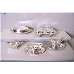 Selection of vintage silver plate including lidded vegetable dish, sauce/gravy boats and a two part