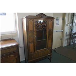 Single door walnut china cabinet made by Knechtel to match lots 254 and 255