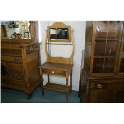 Primitive Canadian single drawer washstand with bevelled mirror and towel bar