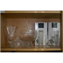 A selection of collectibles including crystal and glassware and a silver plate handled dish