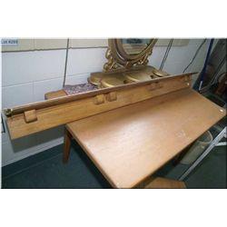 Oak wall mount display shelf with plate slots