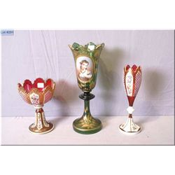 "Cased ruby glass and hand enamelled vase and comport plus a 13"" portrait vase, note distressed base"
