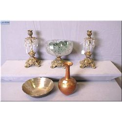 Selection of collectibles including cast and crystal comport, cast and crystal candleholders, two bu