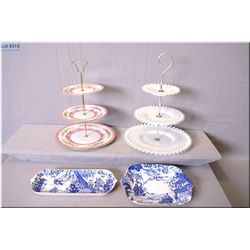 Two Royal Crown Derby Mikado serving plates and two three tier cake plates