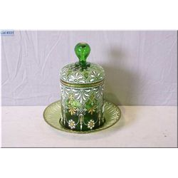 Antique kelly green hand enamelled and lidded biscuit barrel with under tray