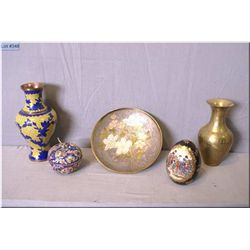 A selection of collectibles including brass, trinket box, and a Satsuma egg etc.