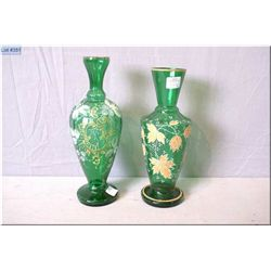 Two antique green glass with hand enamelled and gilt decoration