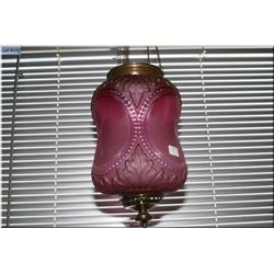 Antique pink glass hanging candle fixture with etched pictorial cameos