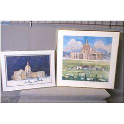 Two framed prints of Alberta Legislative building, both by artist Tom Tinkler, both artist signed an