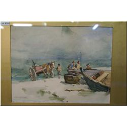 "An antique framed watercolour of a pony and trap loading a boat 9"" X 11"" signed by artist ??? Smith"
