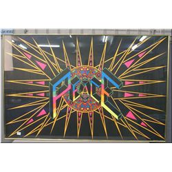 A framed psychedelic Peace poster