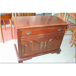 Solid mahogany two door single drawer server made by Gibbard