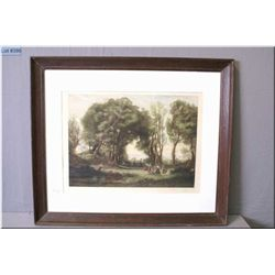 A framed vintage coloured engraving of a pastoral picnic scene signed in pencil Antoine Gaymard