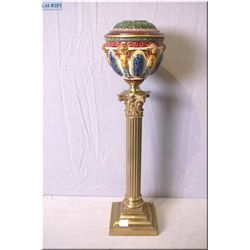 "Antique oil lamp housing on brass column with Majolica bowl and cover, 23"" in height"