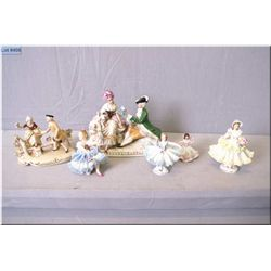 A selection of vintage German porcelain and Dresden figurines