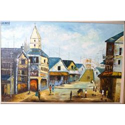 "Framed acrylic on canvas painting of a Spanish street scene signed by artist Montez 24"" X 36"""