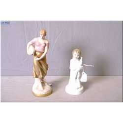"Two Royal Dux figurines including small child and a woman pouring water 8 1/2"" in height"