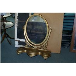 Antique vanity top mirror with storage compartments