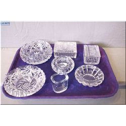 A selection of crystal including four ashtrays, two trinket/cigarette boxes and a toothpick holder