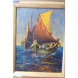 "A vintage acrylic on board painting of a sailboats on the water 11"" X 9"" signed by artist Meriott"
