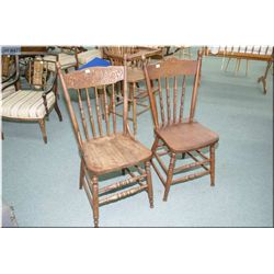 Two Canadiana pressed back side chairs