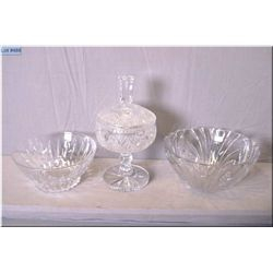 Three pieces of crystal including lidded comport and two bowls
