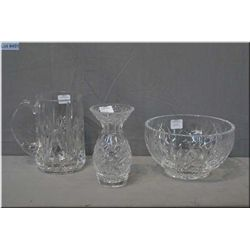 A signed Waterford crystal beer mug plus two pieces of signed Nova Scotia crystal including bowl and