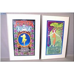 Two framed Bob Masse prints including Jethro Tull at Snug Harbour and Creed at the Desert Sky Pavili