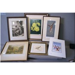 A selection of art work including two originals, a still-life and a bird, an unframed Cecile Youngfo