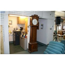 Antique mahogany long cased clock with second sweep and calendar