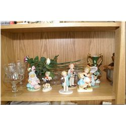 A large selection of collectibles including shrimp cocktail servers, porcelain figurines, treenware