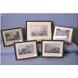A selection of vintage framed engravings including four in colour